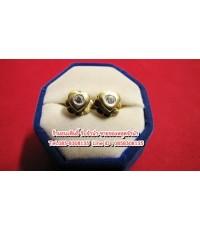 ต่างหูทองคำ 90 ประดับเพชรแท้