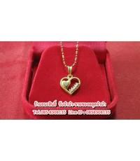 สร้อยคอทอง 18 K จี้หัวใจทองคำประดับเพชรแท้