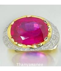 แหวนทองคำแท้ 90 ประดับทับทิม9.83 กะรัต พร้อมเพชรแท้เบลเยียม 1.39กะรัต
