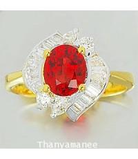 แหวนทับทิม 1.42 กะรัต พร้อมเพชรแท้เบลเยียม0.49 กะรัต ตัวเรือนทองแท้ 90