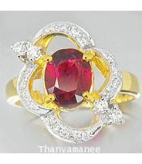 แหวนทับทิม 2.01 กะรัต พร้อมเพชรแท้เบลเยียม 0.3 กะรัต ตัวเรือนทองแท้ 90