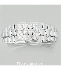 แหวนเพชรแท้เบลเยียม 0.36 กะรัต ตัวเรือนทองคำขาวแท้  หรูหราสวยงามมาก