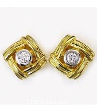 ต่างหูทองคำแท้ 90ประดับเพชรเบลเยี่ยมแท้ 0.15กะรัตสวยงาม ทันสมัย ดีไซร์สวย เรียบหรูมากๆ สินค้ามีใบรับ