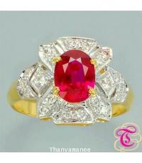 แหวนพลอยทับทิม 1.54 กะรัต พร้อมเพชรแท้เบลเยียม รับประกันสินค้าจากทางร้านทุกชิ้น