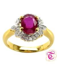 แหวนพลอยทองคำแท้ 90 ประดับพลอยทับทิม 1.54 กะรัต พร้อมเพชรแท้เบลเยียม 0.22 กะรัต สินค้ามีใบรับประกันจ
