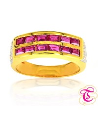 แหวนทองคำแท้ 90 ประดับพลอยทับทิมสยาม 0.98 กะรัต พร้อมเพชรแท้เบลเยียม 0.15 กะรัต สินค้ามีใบรับประกันจ