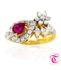 แหวนทองคำแท้ 90 ประดับพลอยทับทิมสยาม 0.51 กะรัต พร้อมประดับด้วยเพชรเบลเยี่ยม 0.6 กะรัต สินค้ามีใบรับ