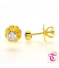 ต่างหูทองแท้ 90 ประดับพร้อมเพชรแท้เบลเยียม 0.25กะรัต สินค้ามีใบรับประกัน