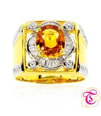 แหวนทองคำแท้ 90 ประดับพลอยบุษราคัม 3.09 กะรัต พร้อมเพชรแท้เบลเยียม 0.8 กะรัต สินค้ามีใบรับประกันจากท
