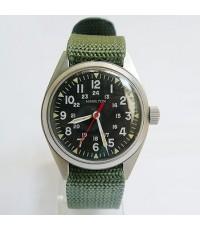 1963 นาฬิกาสวิส HAMILTON MILITRY US ARMY ไขลานหน้าปัดดำเดินดีน่าใช้