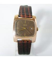 1960s นาฬิกาสวิส ORIS SWISS MADE ไขลานหน้าปัดน้ำตาลเดินดีน่าใช้