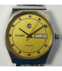 1980s นาฬิกาสวิส RADO VOYAGER ออโต้ไขลานหน้าปัดเหลืองเดินดีน่าใช้