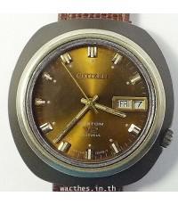 1960s นาฬิกาญี่ปุ่น CITIZEN สิงห์ดำออโต้ไขลานหน้าปัดน้ำเงินไล่เฉดสีเดินดี
