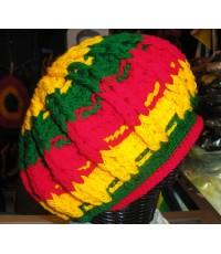 หมวกไหมพรมทรงกลม สีreggae 2ด้าน
