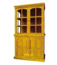 ตู้โชว์ไม้สัก แบบประตูบน 2 บานโปร่ง ประตูล่าง 2 บานทึบ