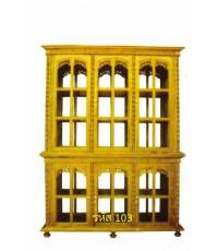 ตู้โชว์ไม้สักโปร่ง 2 ด้าน รูปทรง 4 เหลี่ยม ขนาดใหญ่ แบบประตู 5 บาน
