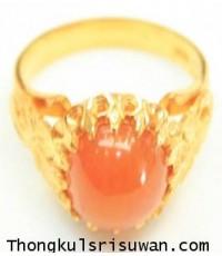 แหวนพลอยสีส้มทรงดอกจอก