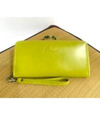 กระเป๋าสตางค์หนังวัวแท้ใบยาว 41 สีเขียวมะนาว CCO