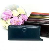 กระเป๋าสตางค์หนังวัวแท้ใบยาว 16  สีเทอคลอย์ CCO