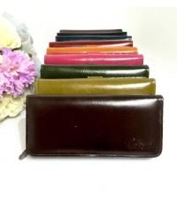 กระเป๋าสตางค์หนังวัวแท้ใบยาว 16  สีช๊อค CCO