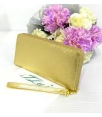 กระเป๋าสตางค์หนังวัวแท้ใบยาว 42  สีทอง เนื้อตาข่าย