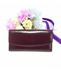 กระเป๋าสตางค์หนังวัวแท้ใบยาว 12  สีม่วง CCO