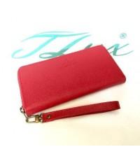 กระเป๋าสตางค์หนังวัวแท้ใบยาว 44  สีแดง ลายเส้น