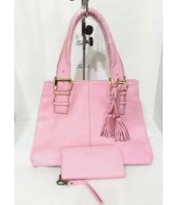 กระเป๋าหนังแท้ Tlux item NV022 + กระเป๋าสตางค์ 43 สีชมพู