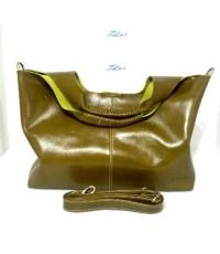 กระเป๋าหนังแท้ Tlux item LK001  สีเขียวมะกอก