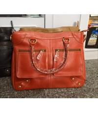 กระเป๋าหนังแท้ Tlux item PA00L สีส้ม