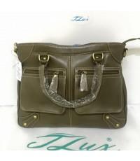 กระเป๋าหนังแท้ Tlux item PA00 สีเทา