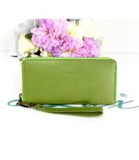 กระเป๋าสตางค์หนังแท้ tlux Item เนื้อชามัวร์พ่น 43  สีเขียว