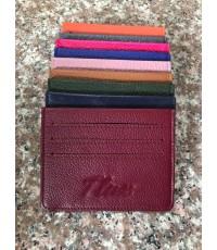 กระเป๋าใส่บัตรหนังวัวแท้ Tlux item No.01 สีม่วง