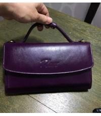 กระเป๋าสตางค์หนังวัวแท้ Tlux item No.68 สีม่วง