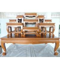 โต๊ะหมู่บูชาหน้า 8 หมู่ 9 ขาสิงห์น้ำมัน สีสัก