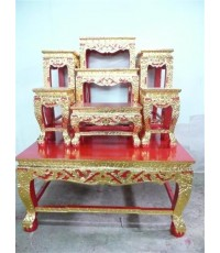 โต๊ะหมู่บูชา หน้า 8 หมู่ 7 ขาสิงห์ แกะลายไทย ปิดทอง