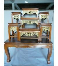 โต๊ะหมู่บูชา หน้า6หมู่7 ขาตรง กระจังทอง สีสัก