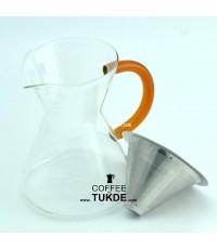 ชุดชง กาแฟ ดริป กรองสแตนเลส พร้อม เหยือกแก้ว ขนาด1-4 cups ไม่ต้องใช้กระดาษกรอง  กาแฟ สตนเลส2ชั้น