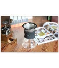 YAMI ชุดชง กาแฟดริป กรองสแตนเลส พร้อม เหยือกแก้ว ขนาด1-4 cups ไม่ต้องใช้กระดาษกรอง  กาแฟ สตนเลส2ชั้น