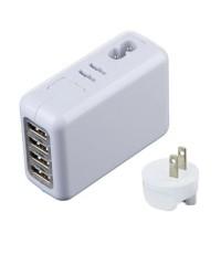 ที่ชาร์จอเนกประสงค์ มือถือ แบตเตอรี่ Wall charger USB 4 Port มีตัวเสียบให้ 4 แบบ