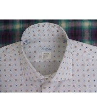 เสื้อเชิ้ตแบรนด์เนม หรู Orian made in ITALY Men Casual Shirt Long Sleeve size XL