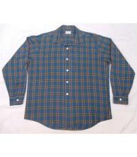 เสื้อเชิ้ตผ้าเรยอน RS APPAREL Rayon Poly Shirt Vintage 60s ลายสก๊อต Sz L
