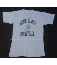 เสื้อยืดมือสองเนื้อทราย Vtg 80 NORTH BRANCH BASKETBALL CHAMPION TAG T-SHIRT L