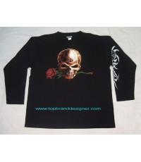 เสื้อยืดมือสองแขนยาว Skull Gothic tattoo t-shirt 3XL cool สภาพเยี่ยมเหมือนใหม่