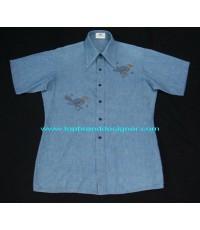 เสื้อเชิ้ตวินเทจแชมเบรย์ผ้าริม Vintage 60 VAN HEUSEN Selvedge Chambray Work Shirt L