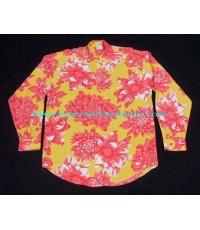 เสื้อเชิ้ตผ้าเรยอน NAF NAF FRANCE Made Flowers Printed Shirt Used Designer แบรนด์เนมมือสอง M
