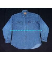เสื้อยีนส์ลีวายส์ Vintage 70s LEVI\'S denim jeans work shirt orange tab USA L