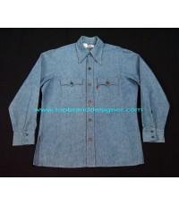 เสื้อยีนส์ลีวายส์ผ้าด้าน LEVIS USA BIG E orange tab denim jeans shirt vintage 70s L