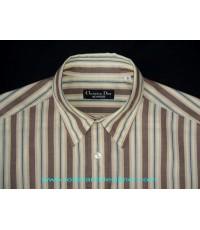 เสื้อเชิ้ต Christian Dior Stripes Shirt Used Designer Clothes แบรนด์เนมมือสอง S