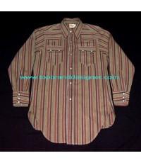 เสื้อลีวายส์กะโหลก Vintage 50s LEVI\'S Short horn sawtooth pearl snap western shirt 38
